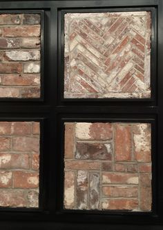 Fresh from the NYC Architectural Digest Show: Reclaimed thin brick veneer patterns for flooring, interior walls, fireplace brick, or backsplash.