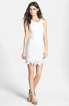 ASTR Textured Floral Body-Con Dress - White Cocktail Dress