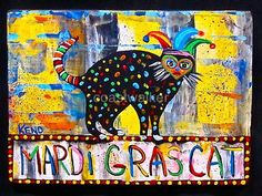 Mardi Gras Cat Original Hand Cut Wood Maine Folk Art Outsider Coastwalker