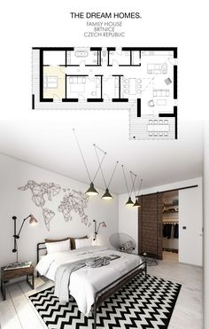 Dream Homes design industrial bedroom. Family house in Czech Republic.