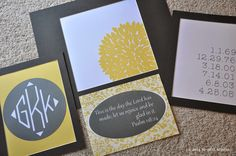 more grey + yellow custom wall art order just finished! monograms + scripture + special dates wall art!