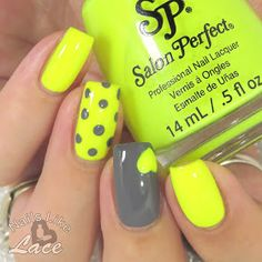 NailsLikeLace: Mommy's Mani Monday: Neon Yellow & Gray Dots and Heart - Polish Roulette