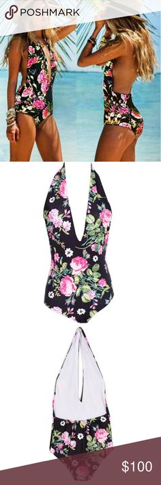 Coming soon! Floral swimsuit and bodysuit Black bodysuit/swimsuit with pink floral print. Backless with halter neck. Swim One Pieces