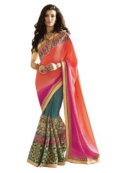 Buy Now Cyan-Orange Fancy Embroidery Chiffon Satin Half-Half Wedding Wear Saree only at Lalgulal.com. Price :- 4,312/- inr. To Order :- http://goo.gl/qMmi6T COD & Free Shipping Available only in India
