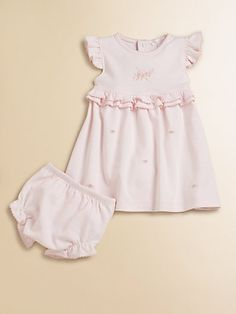 Kissy Kissy - Infant's Ruffled Dress & Bloomers Set with floral embroidery