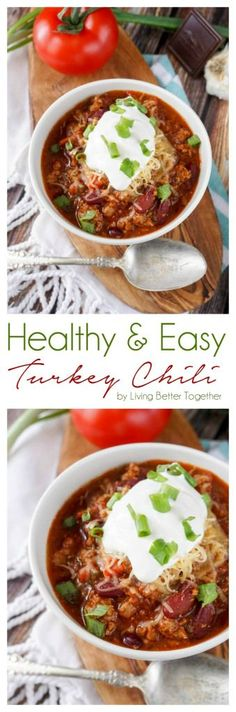 Healthy and Easy Turkey Chili - Living Better Together Chili Recipes, Turkey Recipes, Soup Recipes, Cooking Recipes, Healthy Recipes, Healthy Foods, Happy Healthy, Dinner Recipes, Easy Turkey Chili