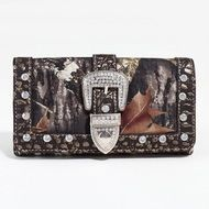 Mossy Oak (R) Camouflage Tri-fold Wallet w/ Rhinestone Buckle & Croco Trim - Gold Q311-DCW-MT1-W0342 MO/GD
