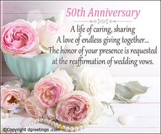 wedding invitation wording honor of your presence – Wedding Tips 50th Anniversary Wishes, 50th Anniversary Invitations, Wedding Invitation Wording, Invitation Cards, Photo Invitations, Wedding Vows, Rose, Party, Ecards