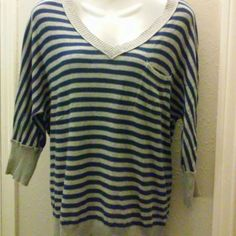 Mossimo Striped Sweater Top 3/4 sleeve lightweight sweater. Striped blue and gray. Front pocket, v-neck. Great casual top. Mossimo Supply Co. Sweaters V-Necks
