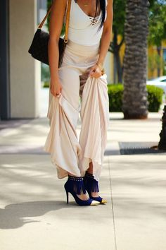 satin trousers with a pop of color