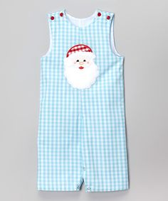 Look at this BeMine Aqua Plaid Santa Overalls - Infant on #zulily today!