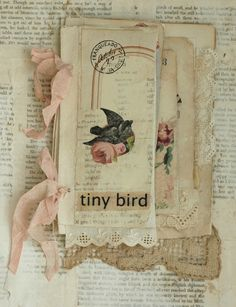 MIXED MEDIA FABRIC COLLAGE BOOK OF GIRLS AND THEIR BIRDS | eBay