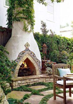 A dream in any backyard: Spanish style stucco fireplace. Stucco Fireplace, Backyard Fireplace, Fireplace Design, Backyard Patio, Outdoor Fireplaces, Fireplace Ideas, Mantle Ideas, Backyard Landscaping, Adobe Fireplace