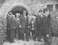 Casket bearing the body of Errol Flynn is carried from the church at actor's final rites. Pallbearers include from left: Mike Romanoff; Guinn (Big Boy) Williams, and Raoul Walsh (eye patch), October Golden Age Of Hollywood, Vintage Hollywood, In Hollywood, Dennis Wilson, Hattie Mcdaniel, Errol Flynn, Turner Classic Movies, Olivia De Havilland, Old Movie Stars