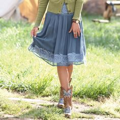 DREAMY TWILIGHT SKIRT--Our dusky blue silk georgette skirt is sketched with spiraling embroidery at the hip yoke and hem. Smocked back for an easy fit