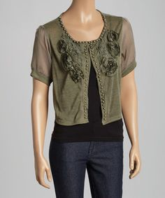 Look what I found on #zulily! Green Sheer Embellished Linen-Blend Shrug by Pretty Angel #zulilyfinds