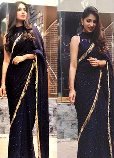 Designer net work party wear sarees shopping online in uae Black Saree Designs, Sari Blouse Designs, Saree Blouse Patterns, Simple Saree Designs, Sari Design, Indian Designer Outfits, Designer Dresses, Designer Sarees Wedding, Indian Fashion Trends