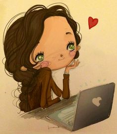 Girl with computer cartoon illustration via www.Facebook.com/GleamOfDreams
