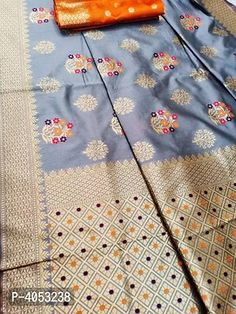 Multicoloured Silk Blend Saree with Blouse piece Silk Saree Banarasi, Designer Silk Sarees, Best Budget, Jacquard Weave, Floral Motif, Designer Wear, Types Of Fashion Styles, Trendy Fashion, Weaving