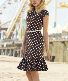 Brown Polka Dot Belted Dress.