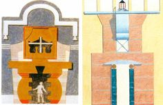 Left, a drawing by Robert A.M. Stern; right, a drawing by Michael Graves