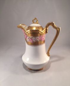 LS & S LIMOGES Chocolate Pot with Morning Glory Design on Gold Background