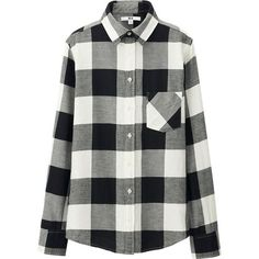 UNIQLO Flannel Check Long Sleeve Shirt ($22) ❤ liked on Polyvore featuring tops, shirts, button-down, flannel, shirts/tops, long sleeve tops, checkered shirt, flannel tops, flannel shirt and button down shirt