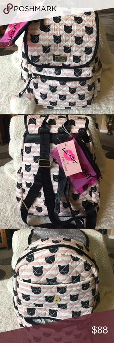 """🌺NWT! BETSEY JOHNSON CAT BACKPACK BRAND NEW! AUTHENTIC BETSEY JOHNSON CAT BACKPACK & COMES WITH A SMALL PLASTIC POUCH-Approximate Measurements are 9""""-11"""" W X 14"""" H X 7"""" D.... Betsey Johnson Bags Backpacks"""