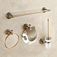 Antique+Brass+with+Green+Jade+4pcs+Bathroom+Accessory+Set+–+AUD+$+244.62