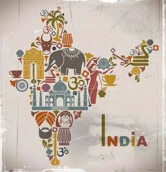 Illustration about Traditional symbols in the form of a map of India. Illustration of drum, palm, flowers - 43099304 India Quotes, India Country, Gangtok, Amazing India, Incredible India Posters, Amazing Photos, India Culture, Thinking Day, The Incredibles