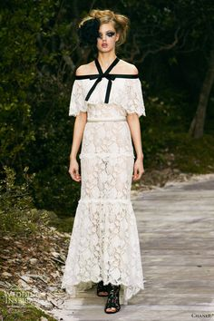 chanel whie dresses | chanel spring 2013 couture white lace dress black straps