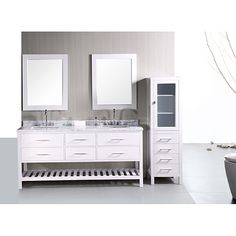 The 72-inch Vanity is elegantly constructed of solid oak wood. The white Carrara Marble counter top's classic beauty and the contemporary-styled cabinetry bring a sophisticated and clean look to any bathroom.