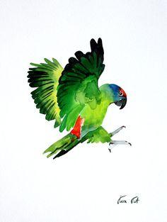Parakeet original watercolor painting green birds by SunnyTaraTet