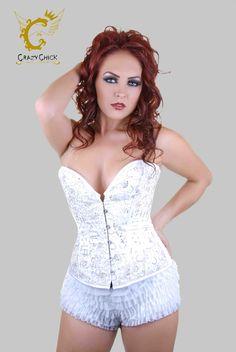 Crazy Chick Deluxe White Sequin Corset (Steel Boned) Christmas Accessories, Waist Cincher, Hot Pants, Santa Hat, Leg Warmers, Corset, Wigs, Hair Color, Stockings
