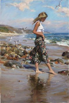Perfect Morning a Garmash Original Painting available from J Watson Fine Art 661 your source for beautiful Michael and Inessa Garmash original paintings and limited edition artwork. Woman Painting, Figure Painting, Painting & Drawing, Art Plage, Images D'art, Beach Art, Beautiful Paintings, Female Art, Art Pictures