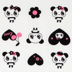 white big panda fabric with black hearts Japan 1
