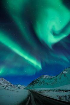 Aurora Borealis at Atigun Pass on the Dalton Highway - Alaska