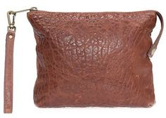 Will Leather Goods 'Opal' Large Grain Leather Wristlet - Brown