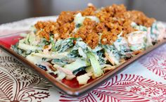7 delish salads: Vegan Kale Slaw with Barbecue Walnut Crumble from Vegnews Kale Recipes, Delicious Vegan Recipes, Raw Food Recipes, Vegetarian Recipes, Healthy Recipes, Amazing Recipes, Healthy Eats, Vegan Vegetarian, Healthy Foods