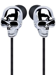 """""""Skull Earbuds"""" (Silver) #InkedShop #InkedMag #Skull #Earbuds #Silver"""