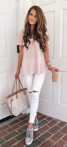 #summer #outfits Pink Top + White Ripped Skinny Jeans + Grey Pumps