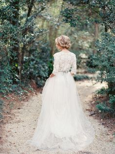 Lace and tulle boho wedding dress with long sleeves