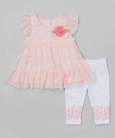 Orange Polka Dot Ruffle Tunic & White Leggings - Toddler