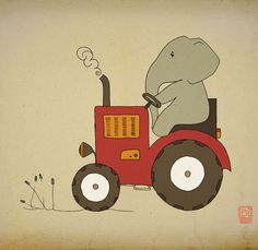 Elephant Archival Art Print 12x16 nursery poster children room Illustration kids room baby, girl, boy wall decor image. $36.00, via Etsy.