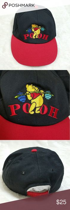 VTG Winnie the Pooh Bear Disney Baseball Hat M10 Pooh can do! Workout Pooh Bear baseball cap will be your perfect companion, keeping out the heat!  -Excellent vintage condition- no rips, stains, or tears -Vintage style, stretch fit -Round bill -Polyester/ Cotton blend -OSFM -Red and black (colors' appearance may vary on screen)  Questions? Just ask! Bundle to save!  Offers welcome  Happy Poshing! Disney Accessories Hats