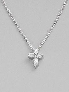 roberto coin - diamond & 18k white gold baby cross necklace