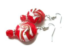 Candy Striped Earrings Peppermint Earrings Red Lampwork Glass Beads Jewelry by chicagolandia, $22.00