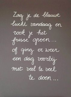 Did you see the blue sky today and smell the fresh green. Of ging er weer een dag voorbij met veel te veel te doen. The Words, More Than Words, Cool Words, Memo Boards, Wisdom Quotes, Words Quotes, Positiv Quotes, Best Quotes, Funny Quotes