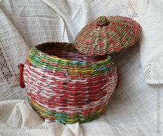Поделка изделие Плетение Горшочки подарочные Трубочки бумажные