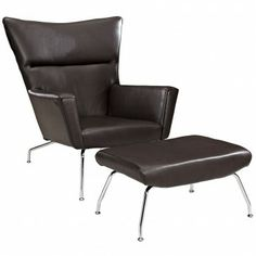 Modern Brown Leather Lounge Chair With Ottoman Classico